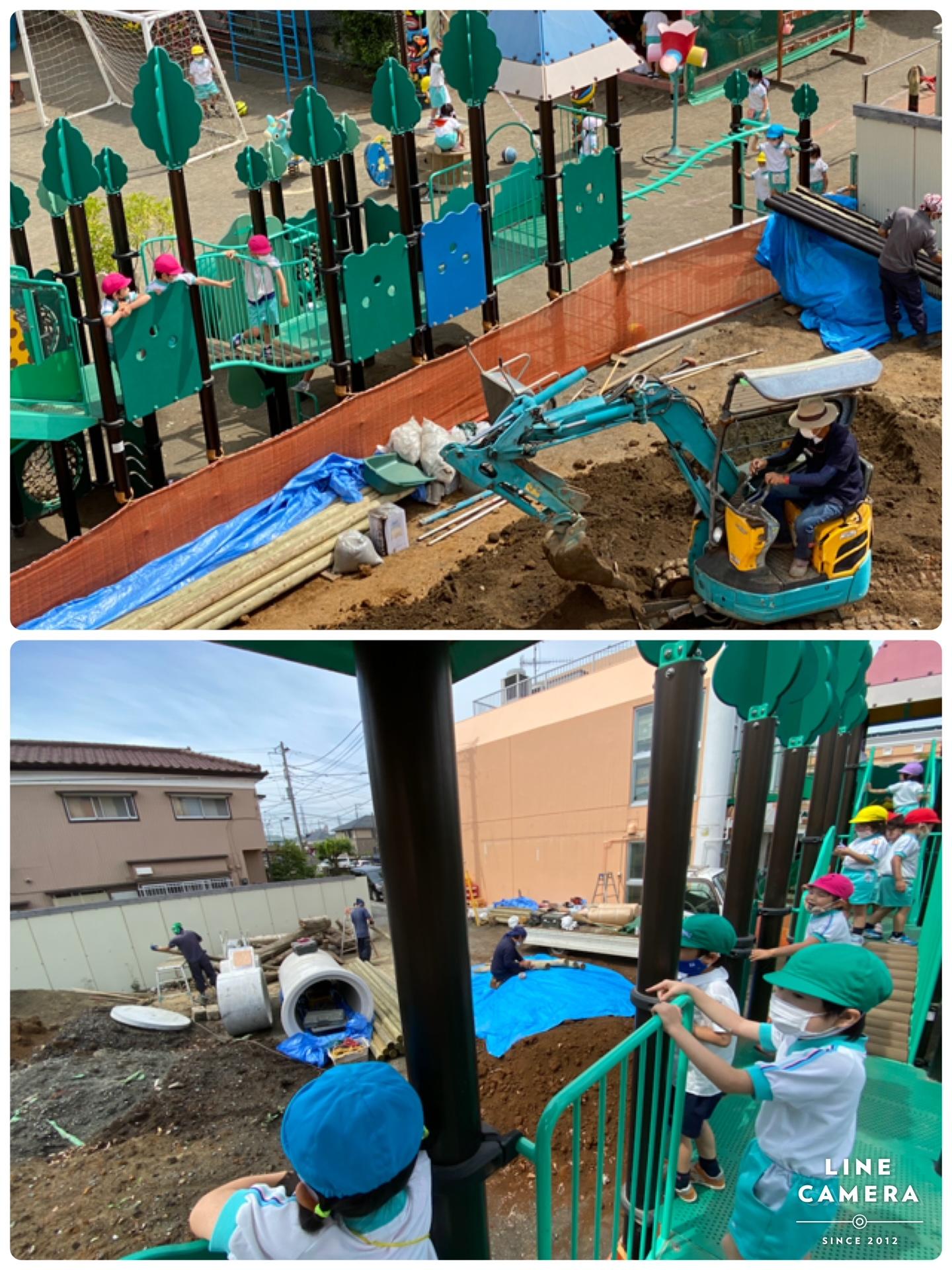 新たな園庭を整備 園児は興味津々